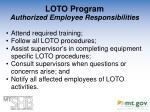 loto program authorized employee responsibilities