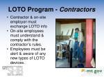loto program contractors
