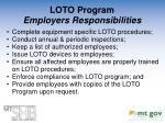 loto program employers responsibilities
