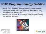 loto program energy isolation