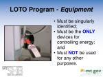 loto program equipment