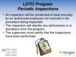 loto program periodic inspections