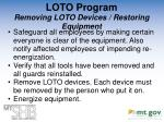 loto program removing loto devices restoring equipment