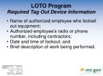 loto program required tag out device information