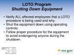 loto program shutting down equipment