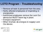loto program troubleshooting