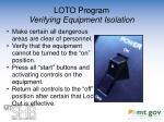 loto program verifying equipment isolation