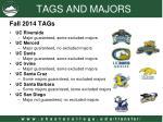 tags and majors