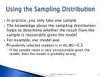 using the sampling distribution