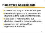 homework assignments