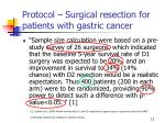 protocol surgical resection for patients with gastric cancer