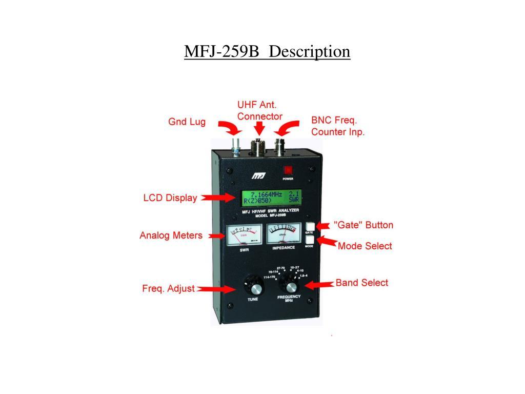 PPT - Care Use and Feeding of a MFJ-259B Antenna Analyzer