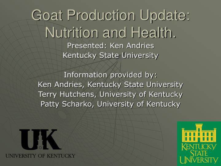 goat production update nutrition and health n.