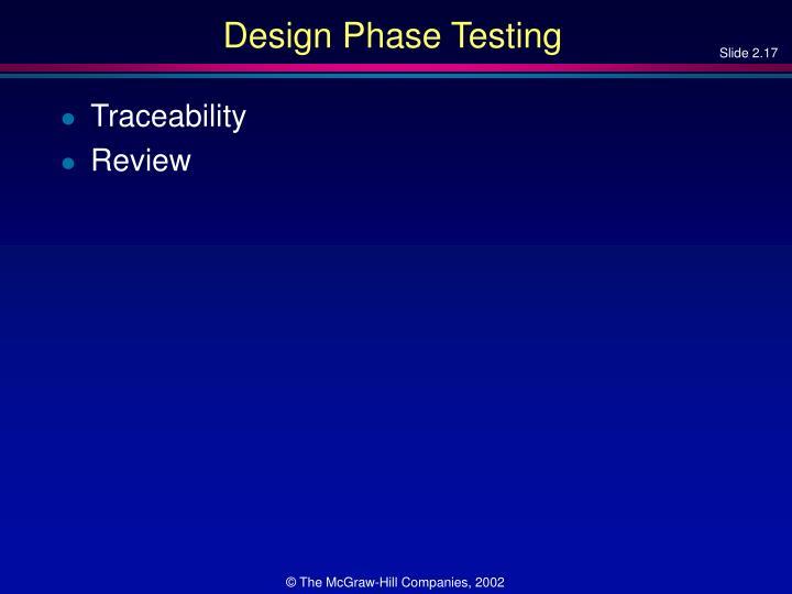 Design Phase Testing