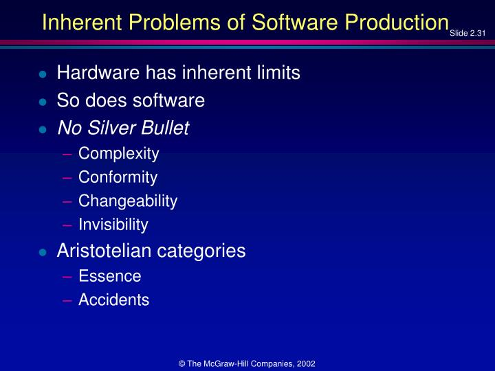 Inherent Problems of Software Production