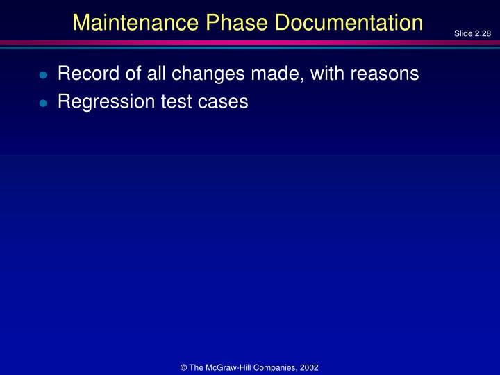 Maintenance Phase Documentation