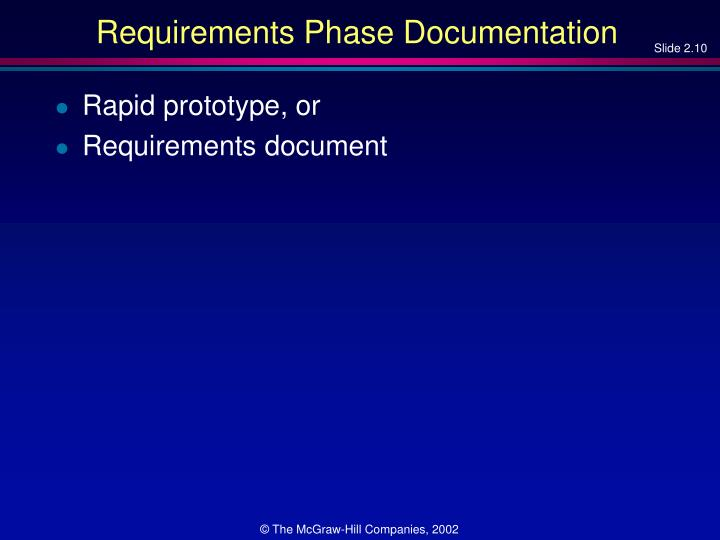 Requirements Phase Documentation