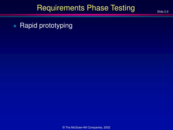 Requirements Phase Testing