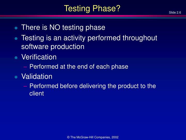 Testing Phase?