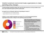 volatile investment environment leads organizations to make spending policy changes