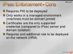 ipsec enforcement cons