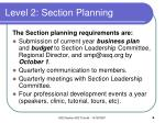 level 2 section planning