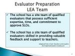 evaluator preparation lea team