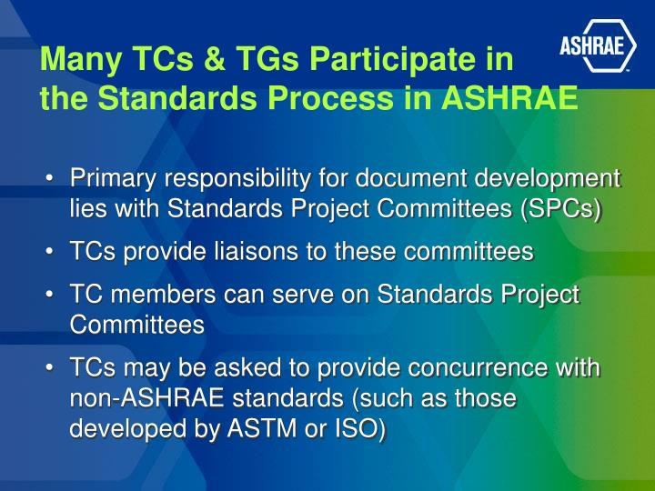 Many TCs & TGs Participate in