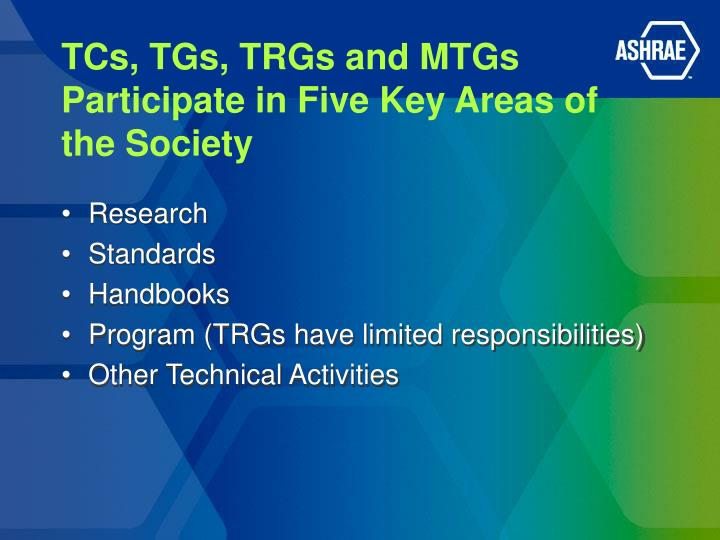 TCs, TGs, TRGs and MTGs Participate in Five Key Areas of the Society