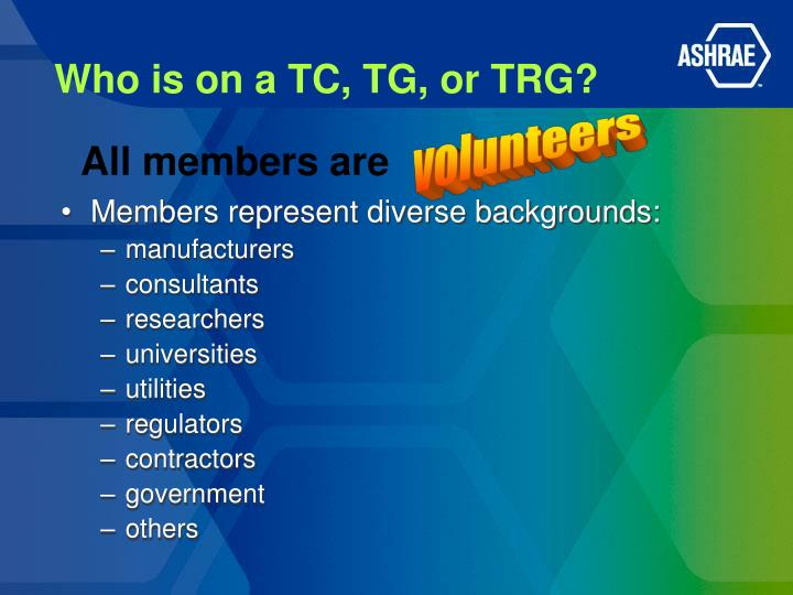 Who is on a TC, TG, or TRG?