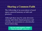 sharing a common faith