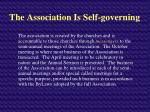 the association is self governing