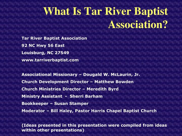 what is tar river baptist association n.