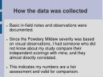 how the data was collected