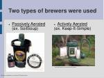 two types of brewers were used