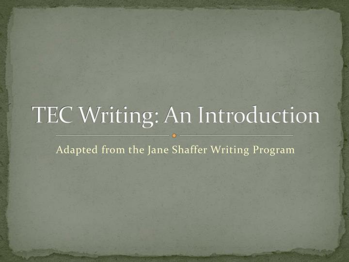 tec writing an introduction n.