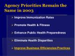 agency priorities remain the same in 2003