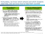 fortunately we know which schools and which students need help and we know how to help them succeed
