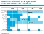 implementation timeline invest in professional development and organizational capacity