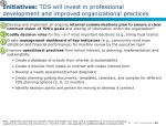 initiatives tds will invest in professional development and improved organizational practices1
