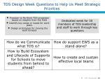 tds design week questions to help us meet strategic priorities