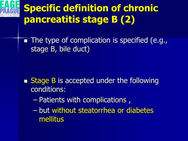 Specific definition of chronic pancreatitis stage B (2)