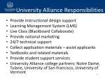 university alliance responsibilities