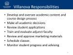 villanova responsibilities