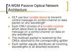 a wdm passive optical network architecture