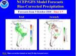 ncep gfs model forecasts bias corrected precipitation