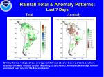 rainfall total anomaly patterns last 7 days