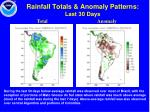 rainfall totals anomaly patterns last 30 days