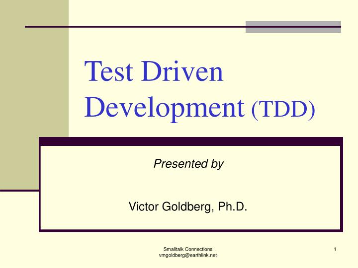 test driven development tdd n.