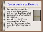 concentrations of extracts